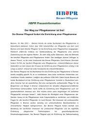 HBPR Presseinformation: Der Weg zur Pflegekammer ist frei