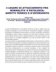 I LEGAMI DI ATTACCAMENTO FRA NORMALITA' E PATOLOGIA ...