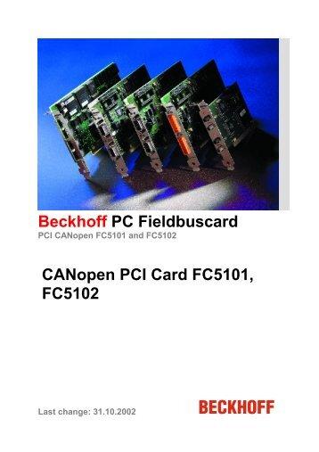 Beckhoff PC Fieldbuscard CANopen PCI Card FC5101, FC5102