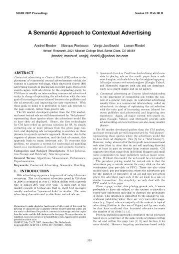 A Semantic Approach to Contextual Advertising