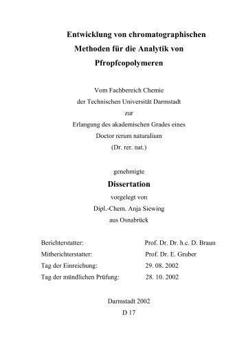 Entwicklung von chromatographischen Methoden für die Analytik ...
