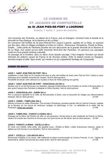 LE CHEMIN DE ST JACQUES DE COMPOSTELLE - La Burle