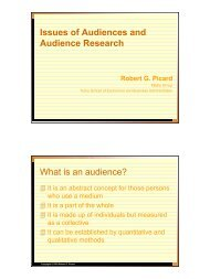 Issues of Audiences and Audience Research Robert G. Picard