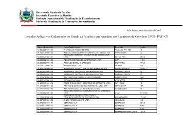 Lista dos Aplicativos Cadastrados no Estado da Paraíba e que ...