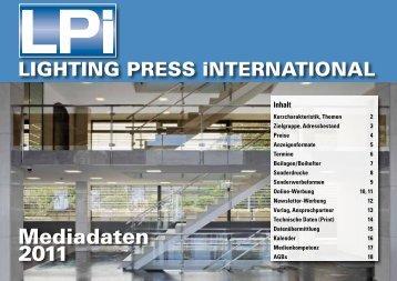 Mediadaten 2011 - LPI LIGHTING PRESS INTERNATIONAL
