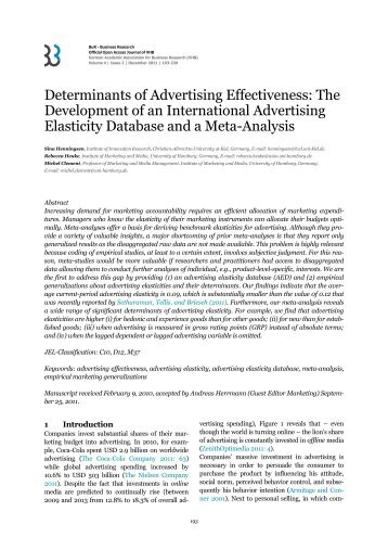 Determinants of Advertising Effectiveness - BuR - Business Research