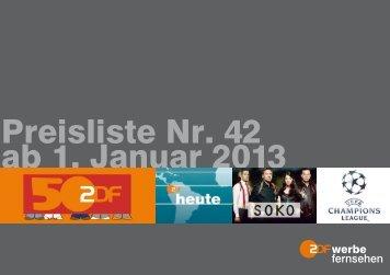 Preisliste Nr. 42 ab 1. Januar 2013 - ZDF Werbefernsehen
