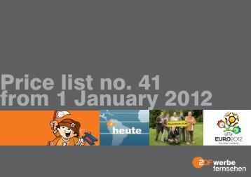 Price list no. 41 from 1 January 2012 - ZDF Werbefernsehen