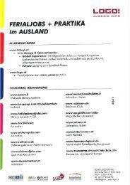 INFOblatt Ferialjobs und Praktika im Ausland