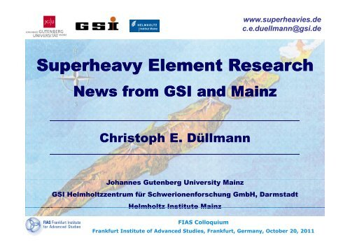 Superheavy Element Research Superheavy Element Research