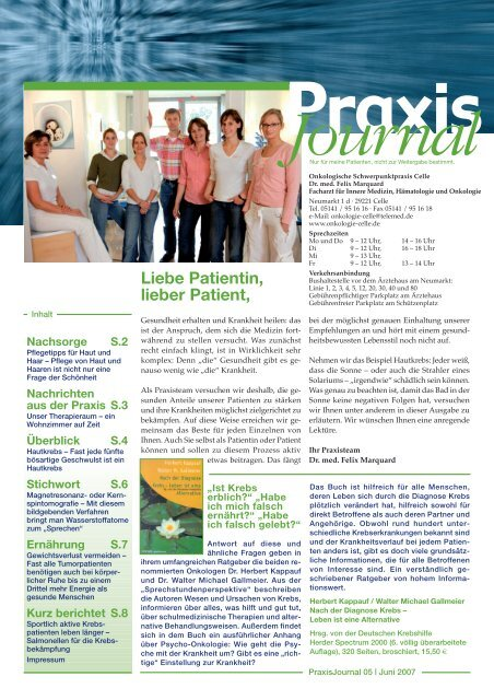 Journal - Onkologische Schwerpunktpraxis Celle