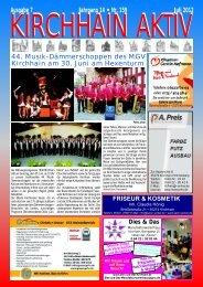 Ausgabe 7 Jahrgang 14 • Nr. 159 Juli 2012 - Glorius, Kirchhain ...