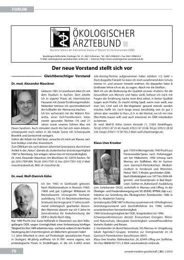 Der neue Vorstand stellt sich vor - Ökologischer Ärztebund