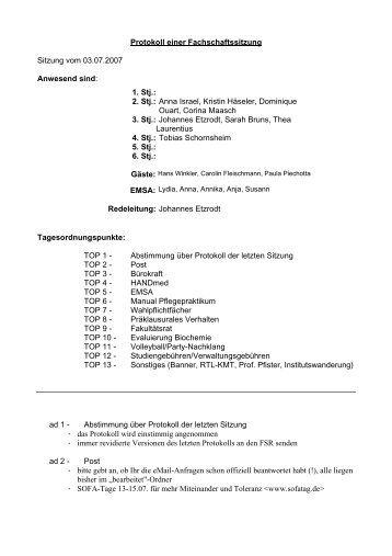 Protokoll - Fachschaft Medizin der FSU Jena