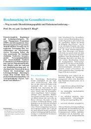 Benchmarking im Gesundheitswesen - Prof. Riegl & Partner GmbH