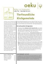 Tierfreundliche Kirchgemeinde - oeku Kirche und Umwelt