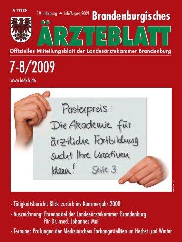 Brandenburgisches Ärzteblatt 7-8/2009 - Landesärztekammer ...