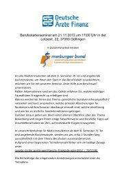 Berufsstarterseminar am 21.11.2012 um 17:00 ... - Marburger Bund