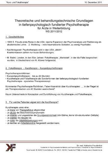 Kurz- und Fokaltherapie - Dr. med. Katharina Freudenthal