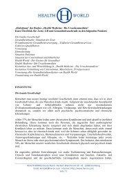 Health Medicine - Die Ursachenmedizin - Health World Institute