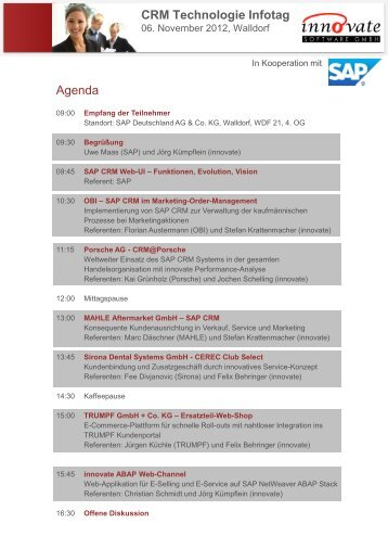 Agenda CRM Technologie Infotag - innovate Software GmbH