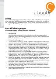 Allgemeine Geschäftsbedingungen der Cloud9-Advertising GmbH