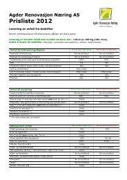 Agder Renovasjon Næring AS Prisliste 2012