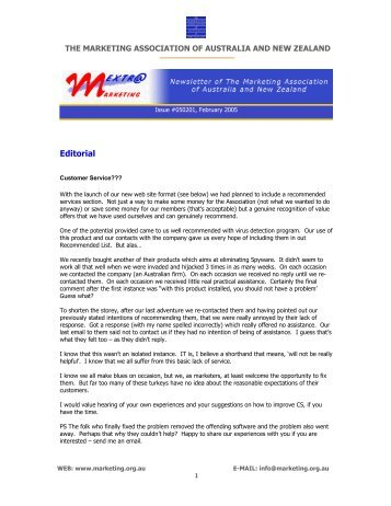 Issue 050201 - Marketing Association of Australia and New Zealand
