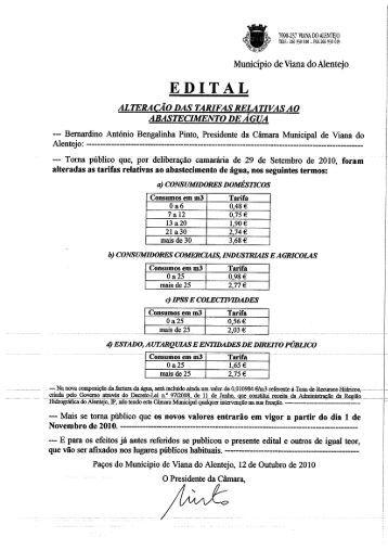 Alteração das Tarifas - Município de Viana do Alentejo
