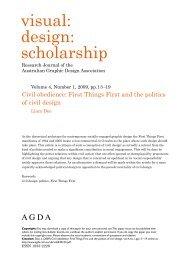 visual: design: scholarship - Volume 5, Number 1 : 2010 - (AGDA).