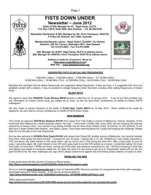 Newsletter June 2012 - FISTS Down Under