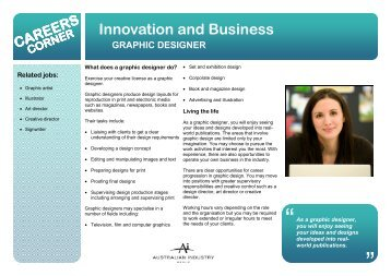 CAREERS CORNER Innovation and Business GRAPHIC DESIGNER
