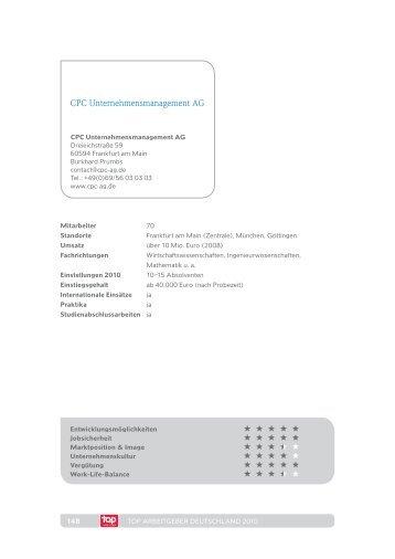 TOP Arbeitgeber Studie 2010 - CPC Unternehmensmanagement AG