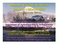 Seasonal Climate Forecast January – March 2013 - State of Oregon