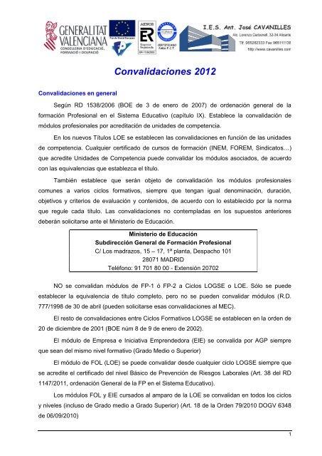 Convalidaciones 2012 Ies Cavanilles