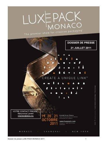 DOSSIER DE PRESSE 21 JUILLET 2011 - LUXE PACK MONACO