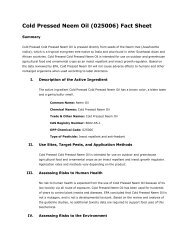 Cold Pressed Neem Oil (025006) Fact Sheet - US Environmental ...