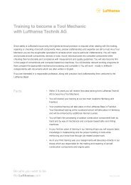 Training to become a Tool Mechanic with Lufthansa Technik AG