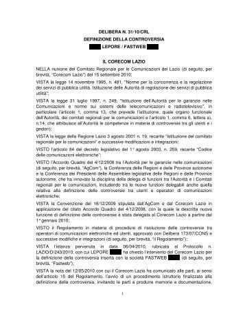 DELIBERA N. 31/10/CRL DEFINIZIONE DELLA ... - Corecom