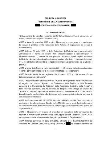 1 DELIBERA N. 38/10/CRL DEFINIZIONE DELLA ... - Corecom