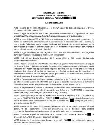DELIBERA N. 11/10/CRL DEFINIZIONE DELLA ... - Corecom