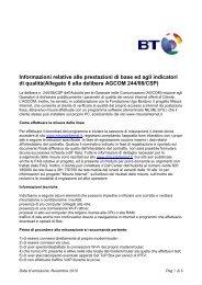 Informazioni relative alle prestazioni di base ed agli ... - BT Italia