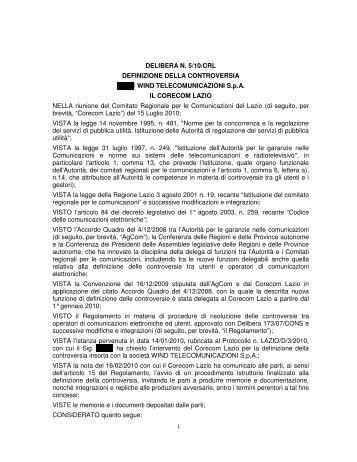 Delibera 05/10/CRL - Corecom