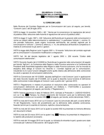 DELIBERA N. 17/10/CRL DEFINIZIONE DELLA ... - Corecom