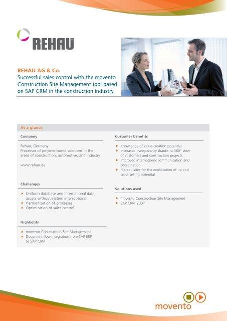 Rehau construction site management with SAP CRM - movento