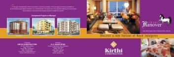 KIRTHI CONSTRUCTION A.G. ASSOCIATES Completed Projects in ...