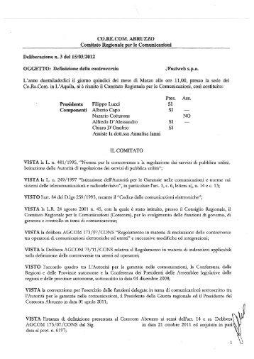 CO.RE.C()M. ABRUZZO , - corecom abruzzo