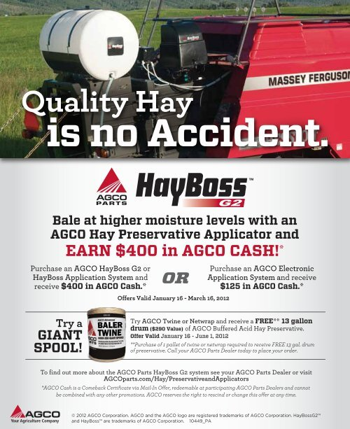 Hayboss G2 and Preservative Offer - AGCO Parts