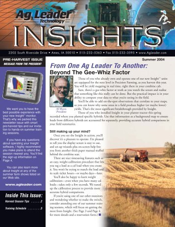 From One Ag Leader To Another: - Ag Leader Technology