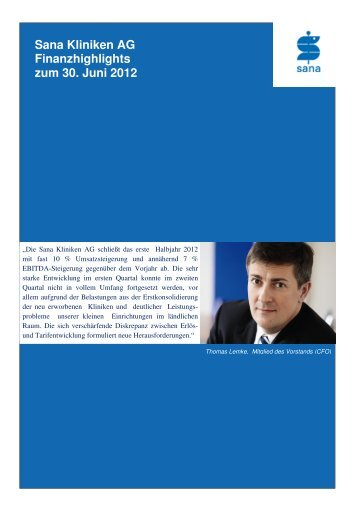 Sana Kliniken AG Finanzhighlights zum 30. Juni 2012